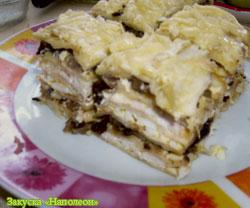 Рыбный пирог из коржей наполеон